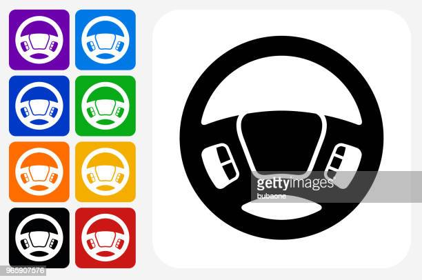 steering wheel icon square button set - steering wheel stock illustrations