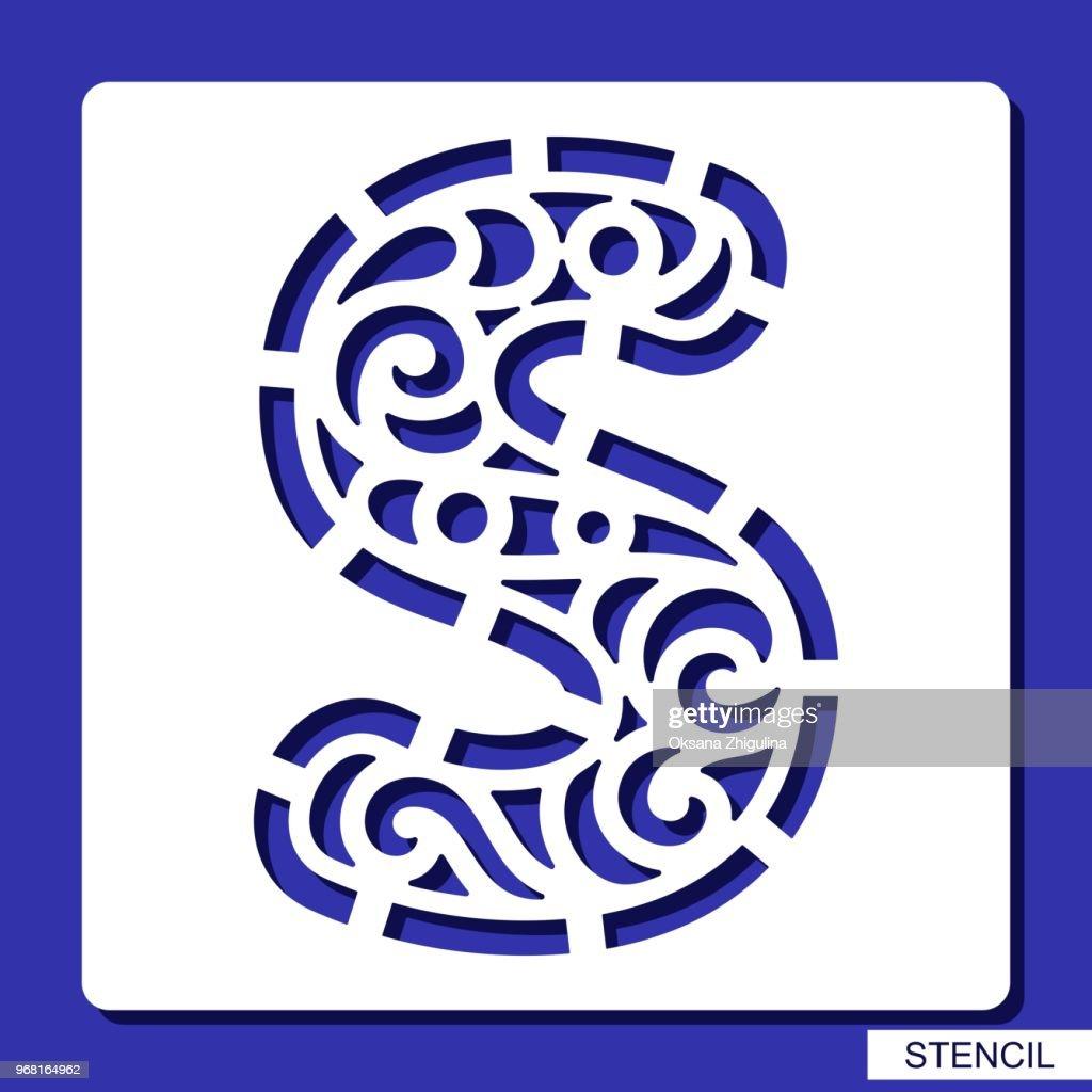 Stencil. Alphabet. Lacy letter S.