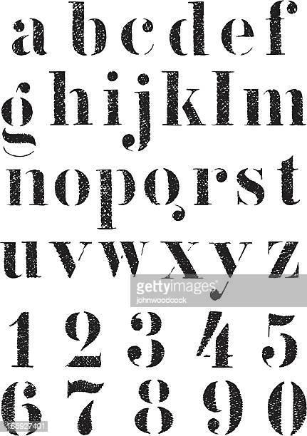 stencil alphabet - stencil stock illustrations