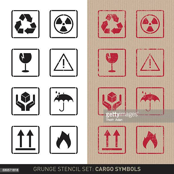 stencil cargo symbols (plain and grunge versions) - fragility stock illustrations