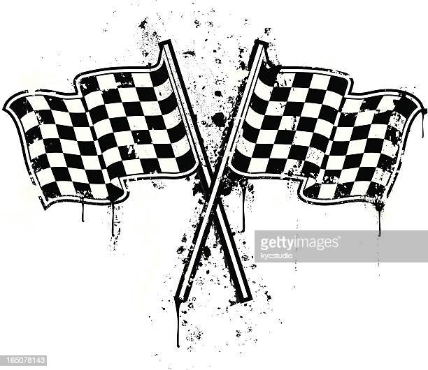 stencil checkered flag - rally car racing stock illustrations, clip art, cartoons, & icons