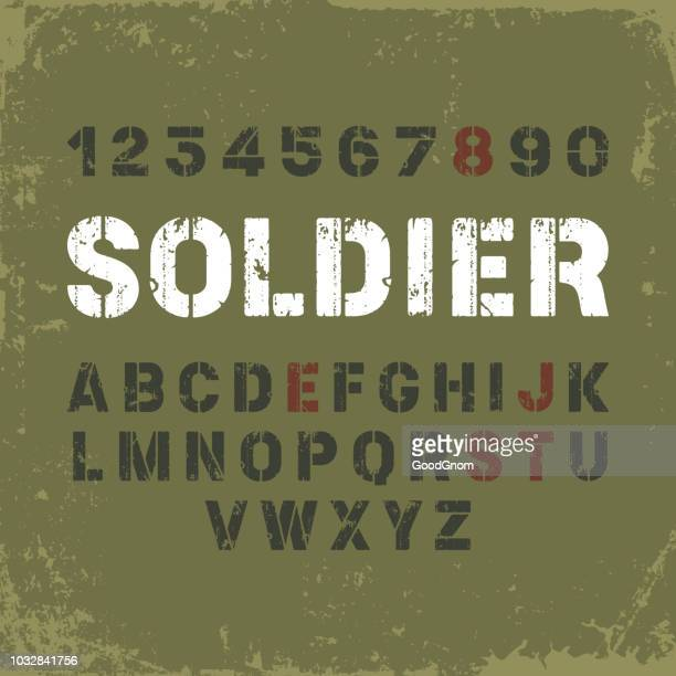 stencil font in military style - military stock illustrations, clip art, cartoons, & icons