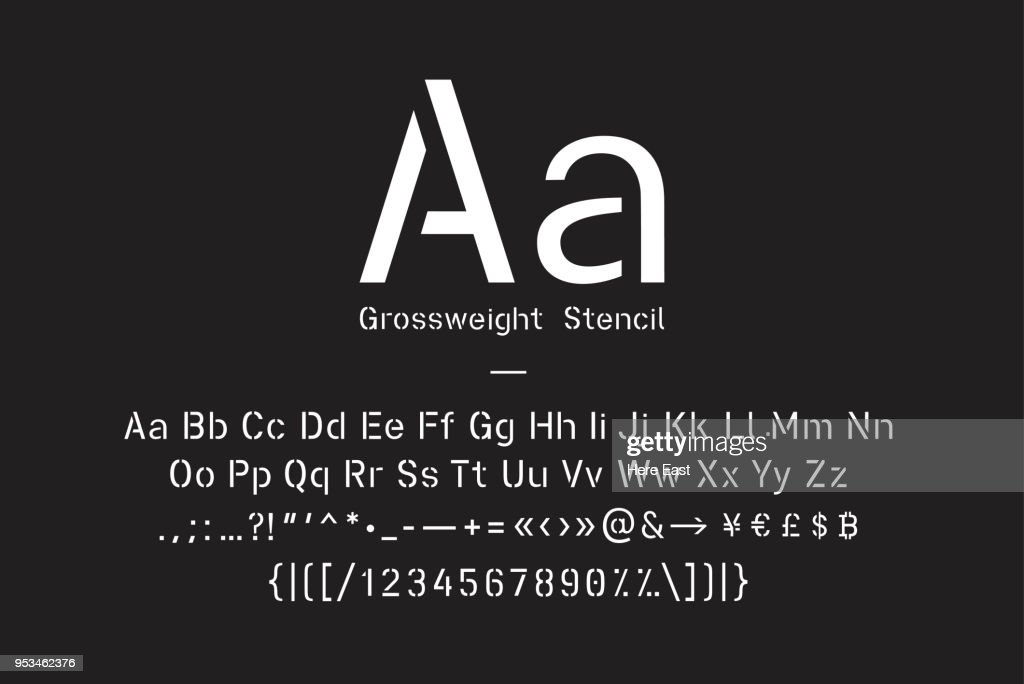 Stencil font with uppercase and lowercase letters, punctuation marks, numerals and symbol glyphs