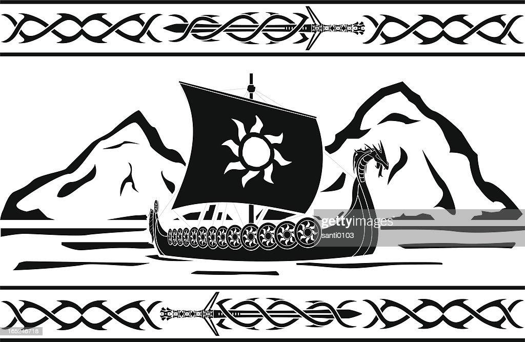 stencil of viking ship