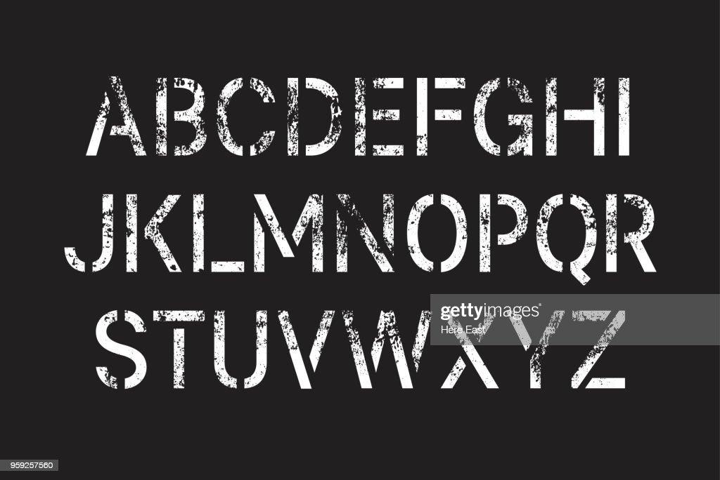 Stencil Paint Sprayed Grunge Font