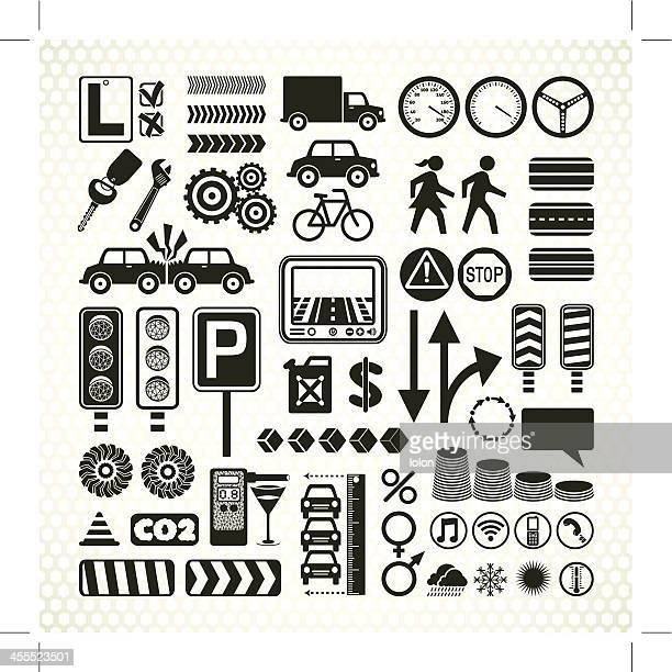 stencil road traffic infographic icons
