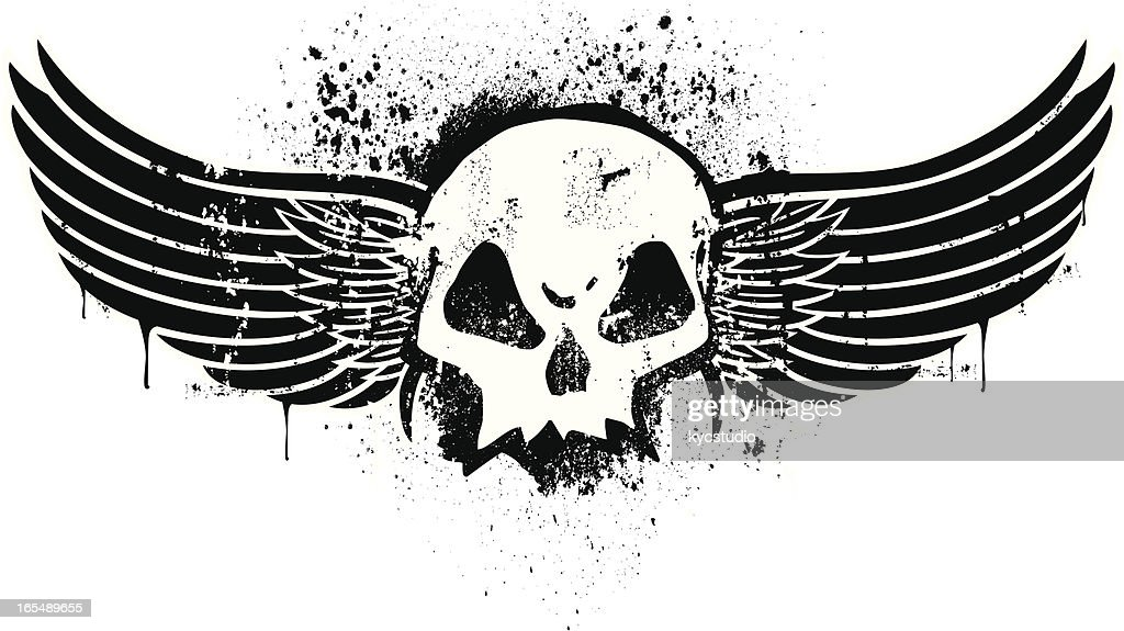 Stencil Skull With Wings Vector Art Getty Images