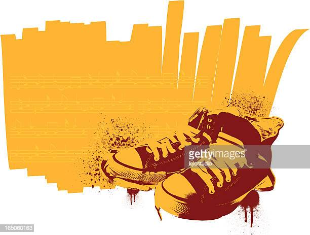 stencil sneakers - sports shoe stock illustrations