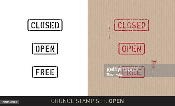 stencil stamp set: open / close (plain and grunge versions) - closed stock illustrations, clip art, cartoons, & icons
