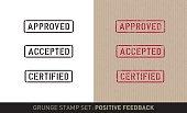 Stencil stamp set: positive feedback (plain and grunge versions)