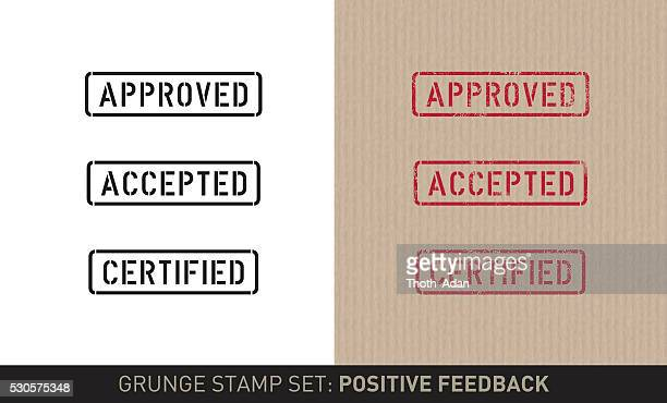 stencil stamp set: positive feedback (plain and grunge versions) - receiving stock illustrations