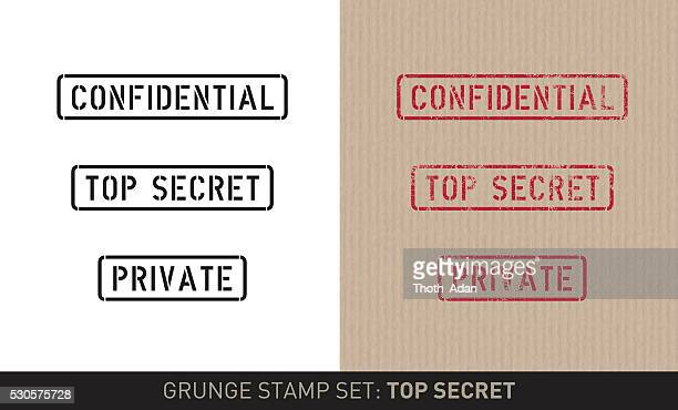 stencil stamp set: top secret (plain and grunge versions) - confidential stock illustrations
