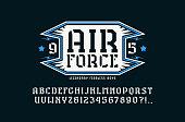 Stencil-plate serif font and air force emblem