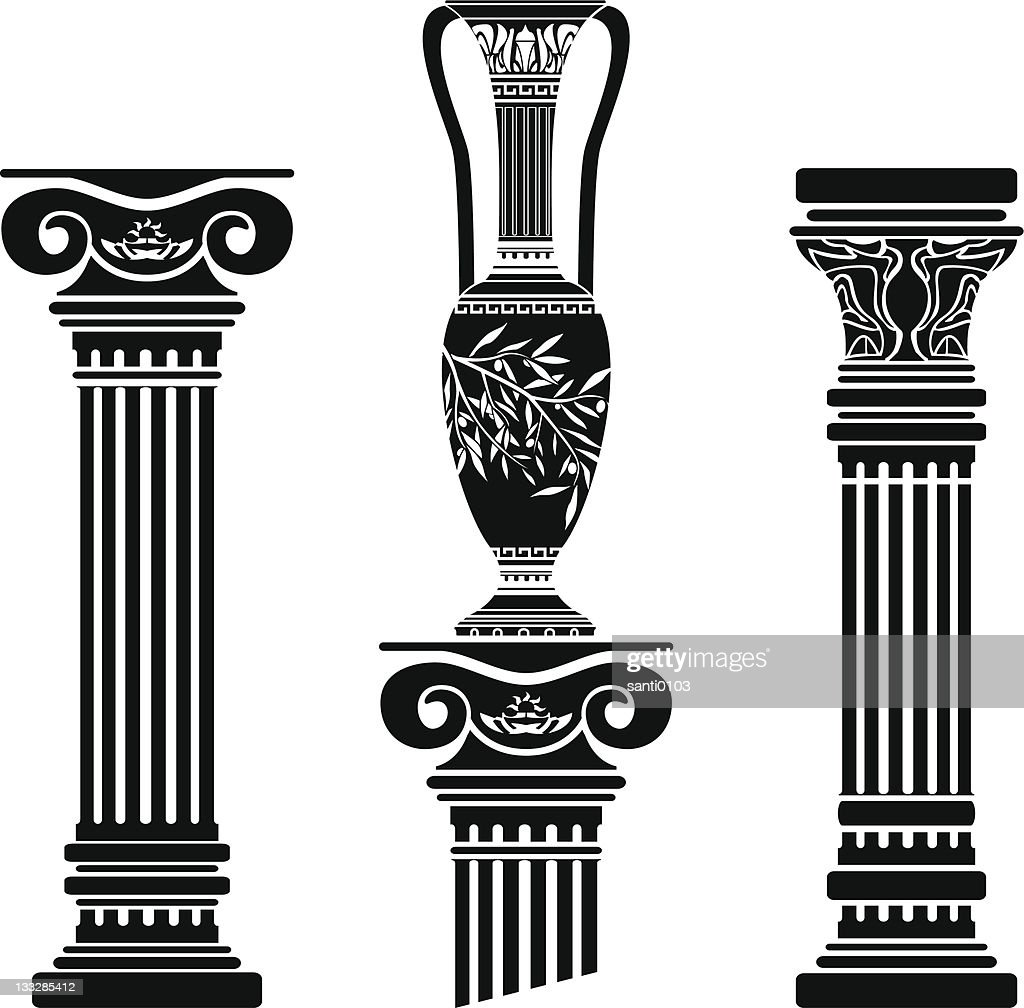 stencils of columns and hellenic jug