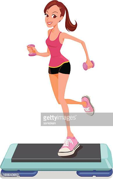 step aerobic workout - aerobics class stock illustrations, clip art, cartoons, & icons