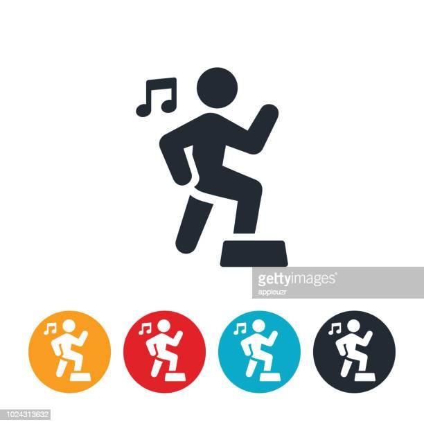 step aerobics icon - step aerobics stock illustrations, clip art, cartoons, & icons