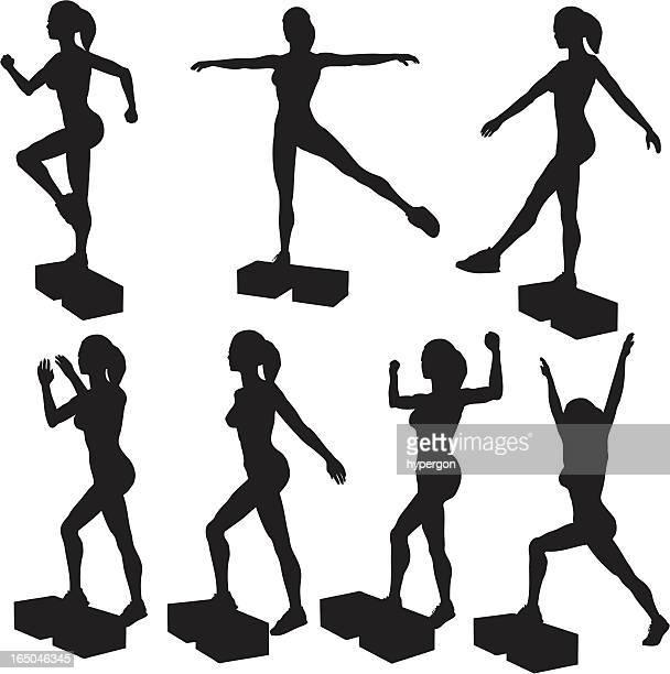 step aerobics silhouette collection(vector+jpg) - aerobics class stock illustrations, clip art, cartoons, & icons