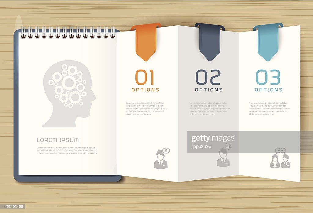 Step for positive thinking with paper brochure design