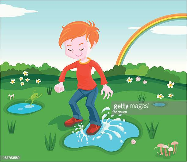 step in a puddle - puddle stock illustrations, clip art, cartoons, & icons