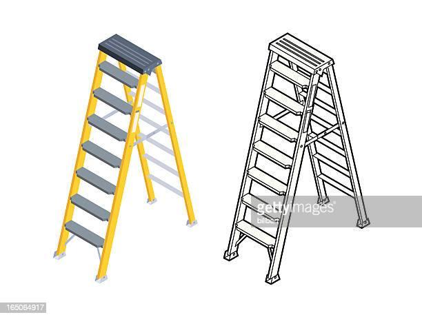 step ladder - ladder stock illustrations, clip art, cartoons, & icons