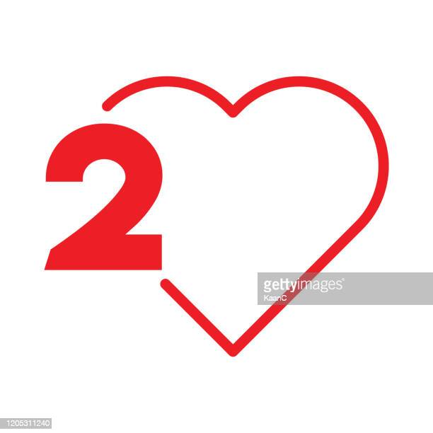 step number stock illustration, heart shape vector - number 2 stock illustrations