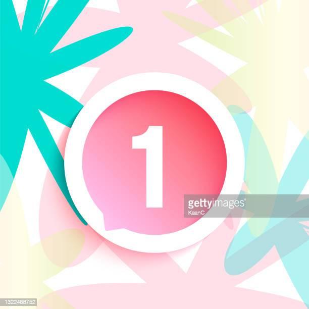 illustrazioni stock, clip art, cartoni animati e icone di tendenza di illustrazione del materiale di base numero passaggio su sfondo astratto, vettore linea bolla vocale - rosa pallido
