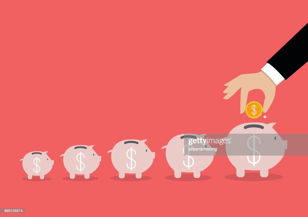 Step of business hand insert coin into the piggy bank : stock illustration