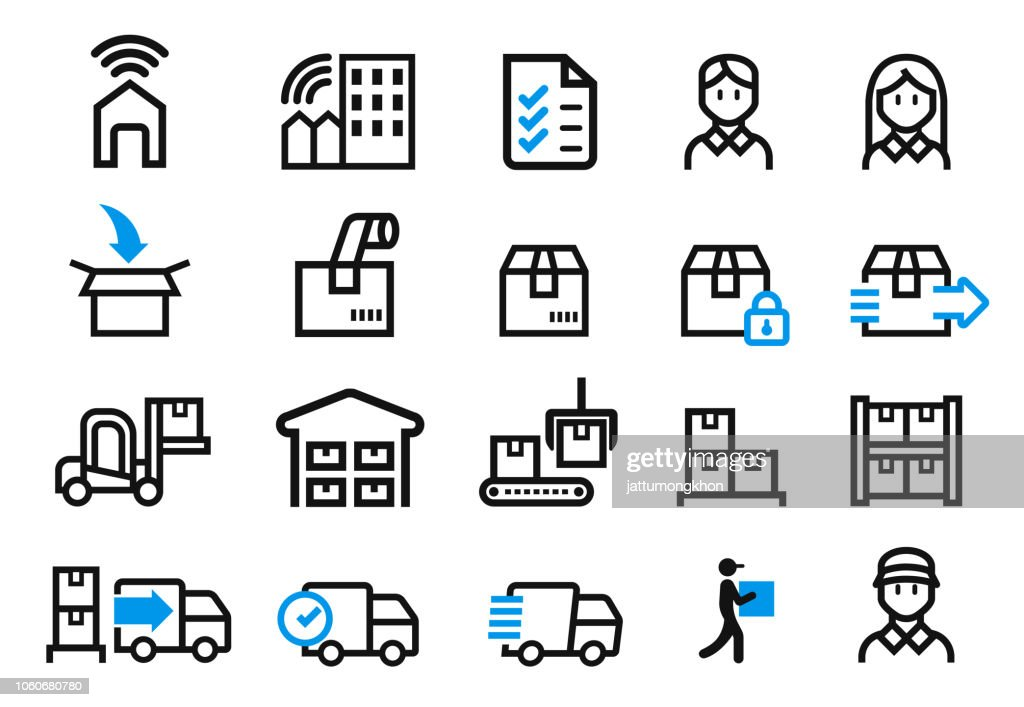Step of delivery service from the company to customer's home(icon concept). shopping online order.