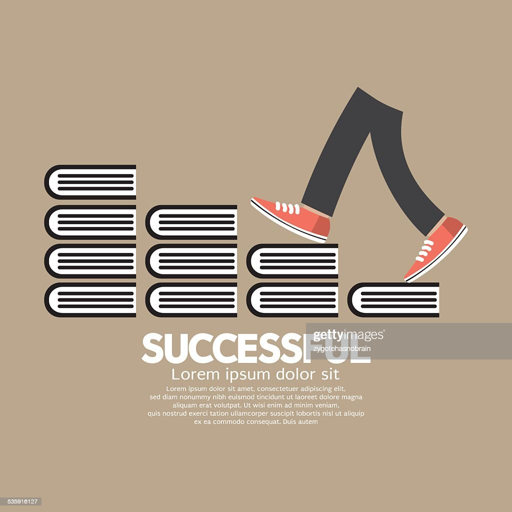 Step Up Walking On Books Successful Concept : Vector Art