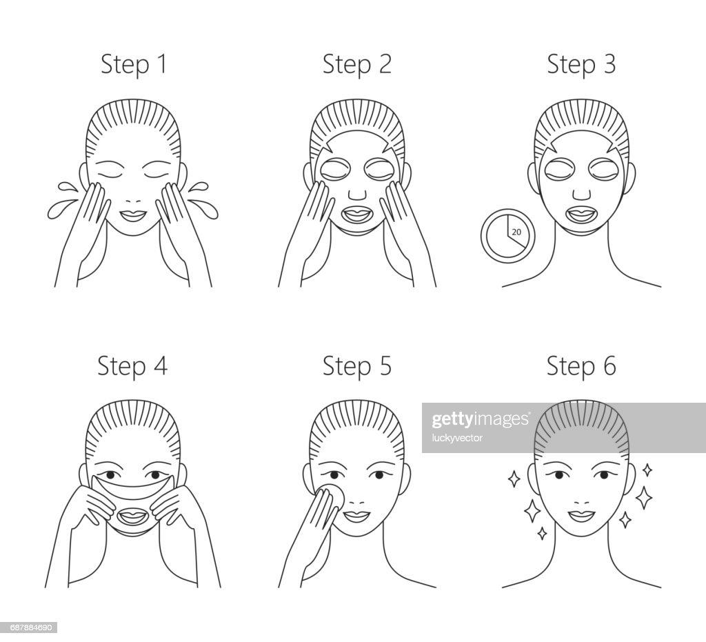 Steps how to apply facial mask. Vector isolated illustrations se