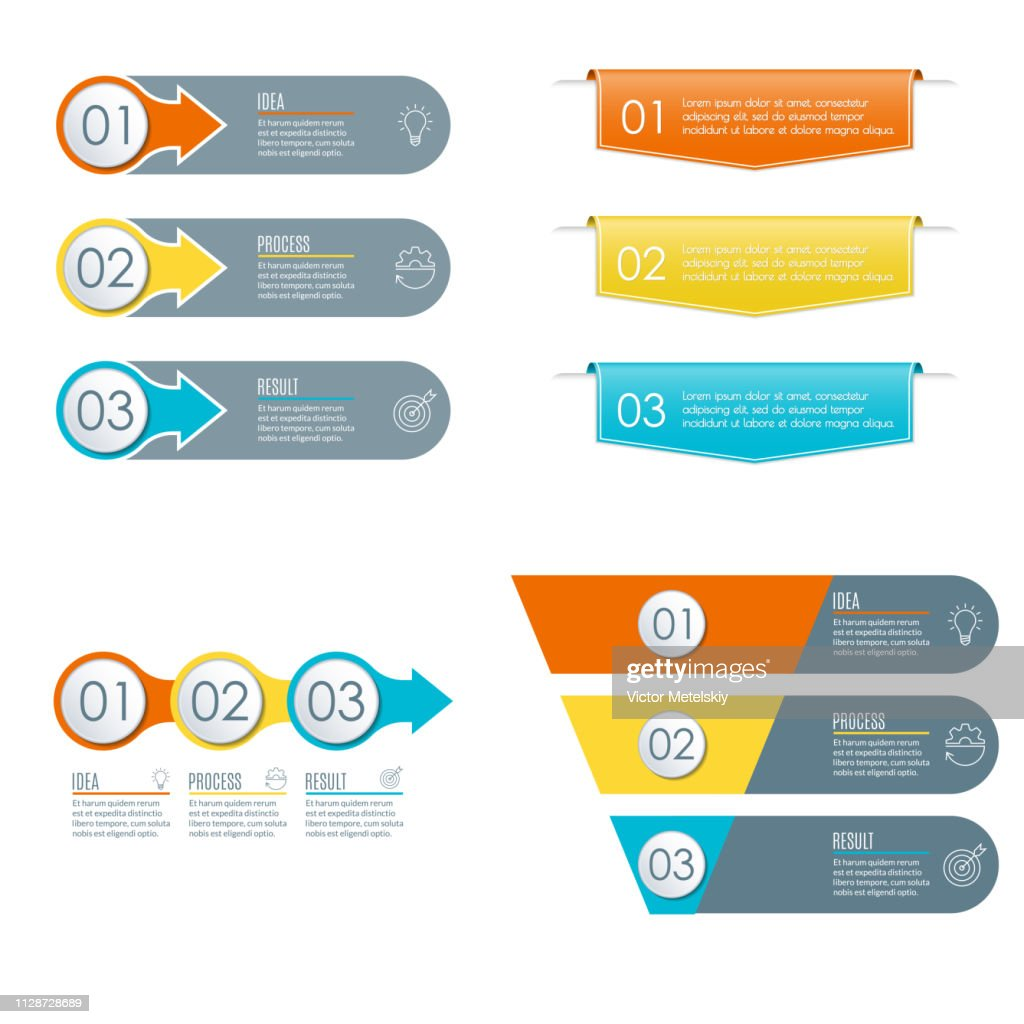 3 steps infographic set. Modern business presentation concept with 3 sections, options or levels. Infograhics collection with circle, arrow, funnel, diagram, chart. Vector illustration.