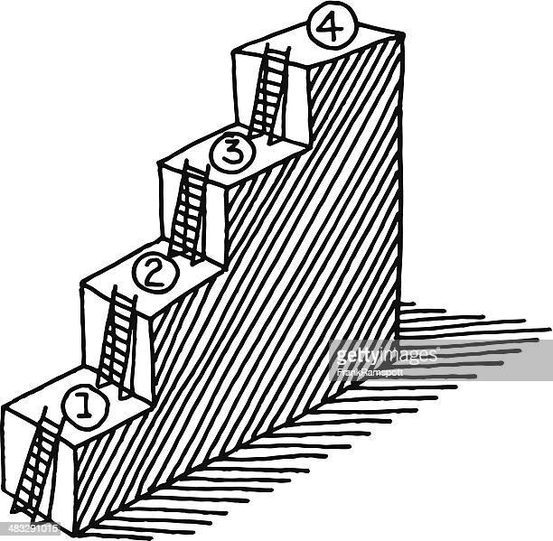 Steps Ladder Progress Concept Drawing