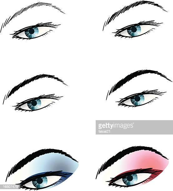 ilustrações, clipart, desenhos animados e ícones de passos de maquiagem olhos - sobrancelha