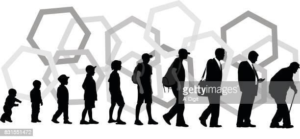 steps of life - aging process stock illustrations
