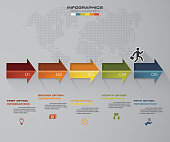 5 steps Timeline arrow infographic element. 5 steps infographic, vector banner can be used for workflow layout, diagram,presentation, education or any number option.