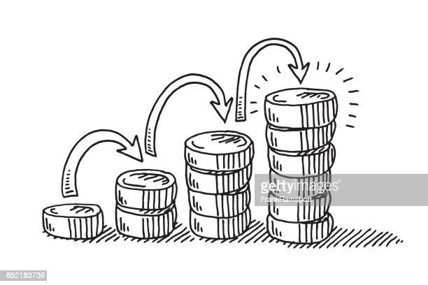 steps to financial success coins drawing - pen and ink stock illustrations, clip art, cartoons, & icons
