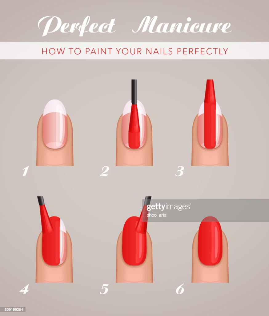 6 steps to paint nails, vector tutorial