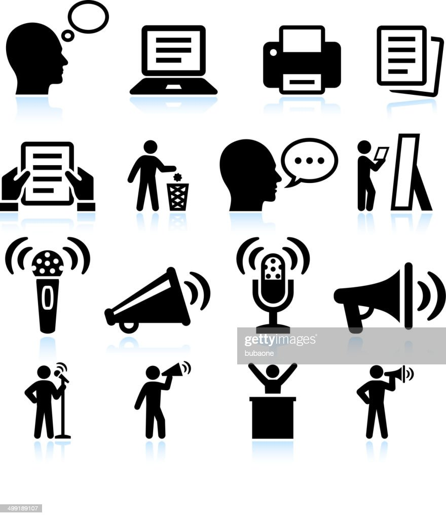 Steps to Public Speakings and Practice vector interface icon set