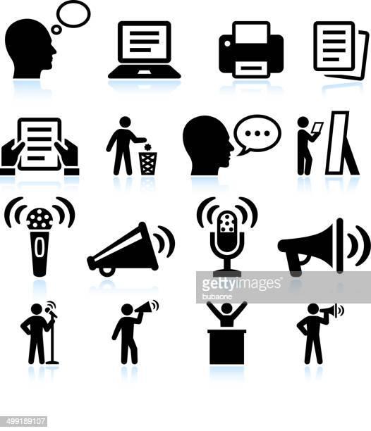Passaggi per Public Speakings e pratica interfaccia vettoriale icona set