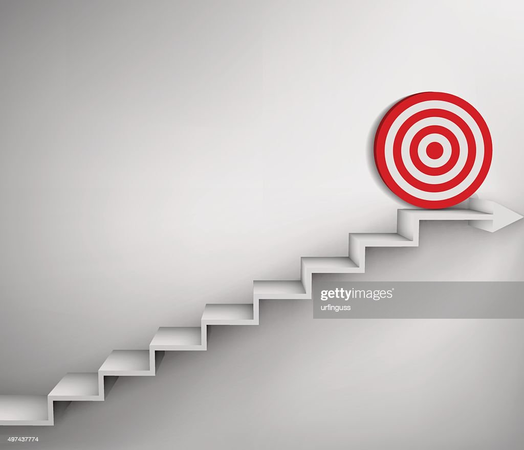 Steps with goal target business concept