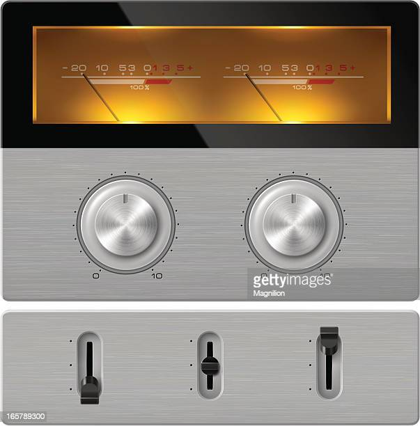 stereo control panel - dial stock illustrations