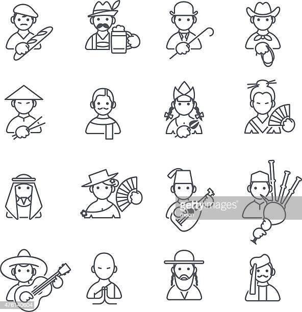 stockillustraties, clipart, cartoons en iconen met stereotypes people thin icons - franse cultuur