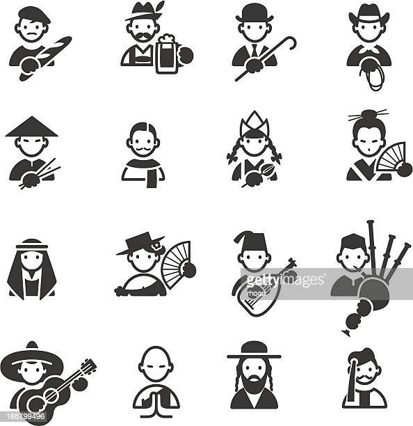 stereotypical icons - spanish dancer stock illustrations, clip art, cartoons, & icons