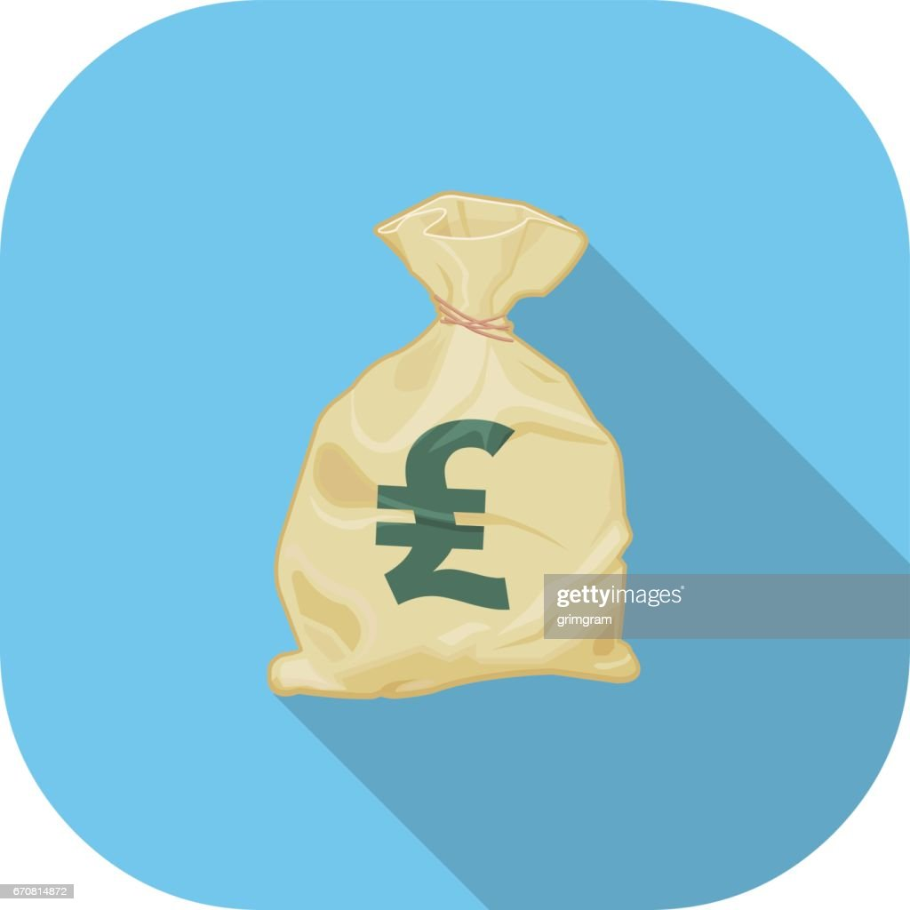 Sterling Money Sack Flat Icon.