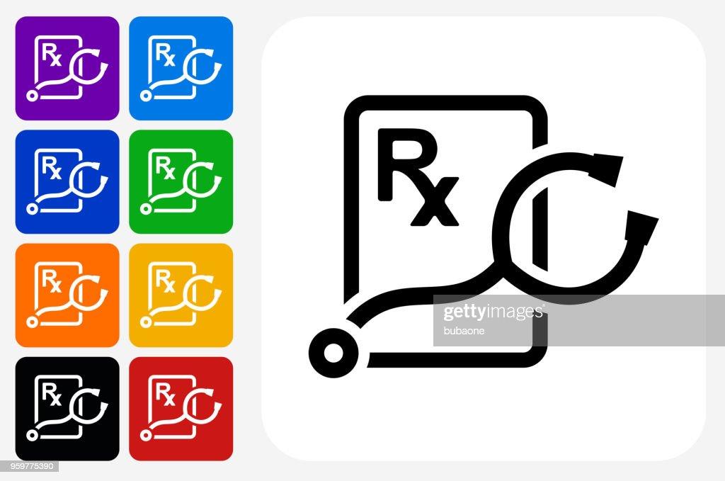 Stethoskop und RX Prescription Symbol Square Buttonset : Stock-Illustration