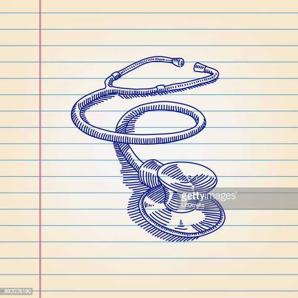 Stethoscope drawing on ruled paper