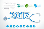 Stethoscope heart creative design ideas concept, 2017 new year
