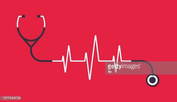 stethoscope heart pulse trace concept illustration - cardiac conduction system stock illustrations