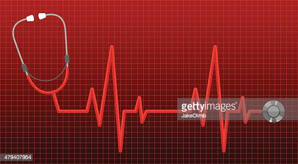 stethoscope heart rate monitor - listening to heartbeat stock illustrations, clip art, cartoons, & icons