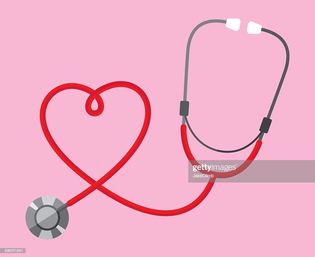 Estetoscópio coração : Ilustração